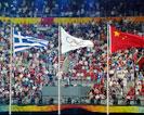 闭幕式现场升希腊国旗奏希腊国歌